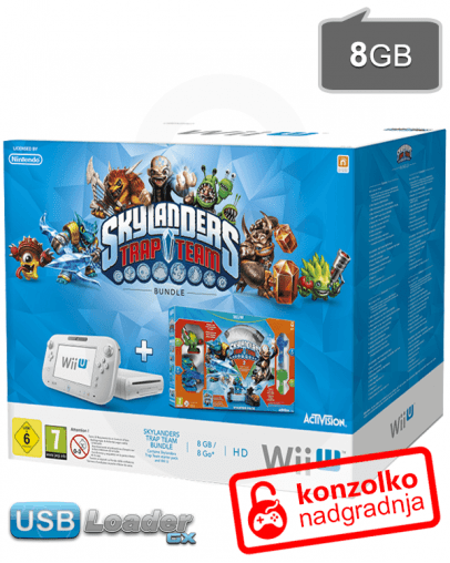 Nintendo Wii U Basic 8GB bel + Skylanders Trap Team + softmod PRO v5 + USB  Loader GX