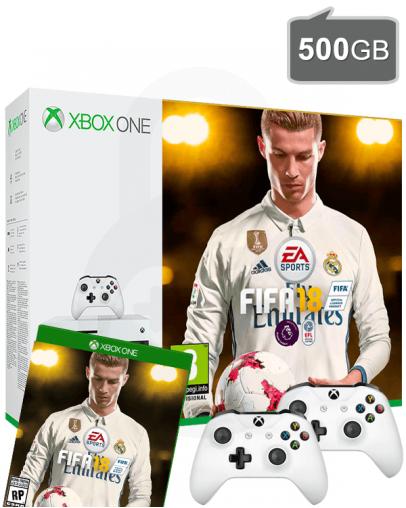Xbox One S (slim) 500GB + FIFA 18 + 2x Kontroler